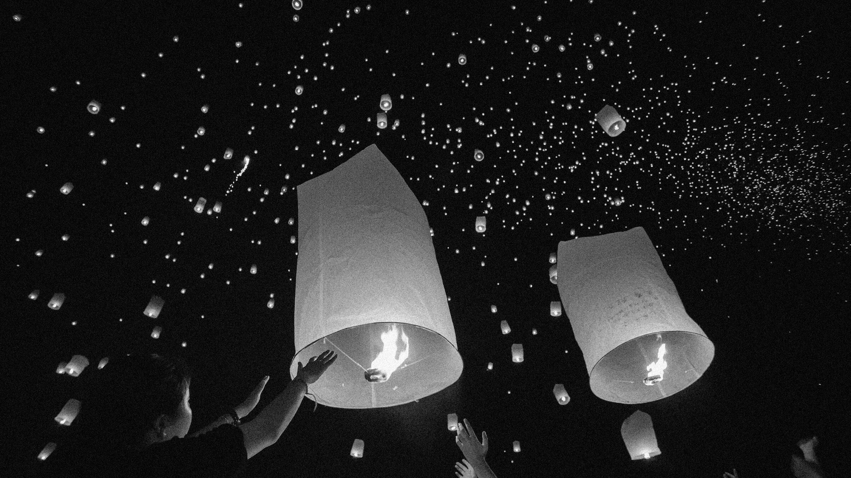 Sky lanters flying